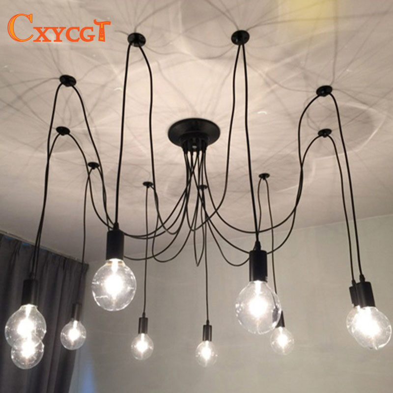 Modern Nordic Retro Edison Chandelier Lighting Vintage Loft Antique Adjustable DIY E27 Spider Pendant Hanging Lamp Home Lighting hemp rope chandelier antique classic adjustable diy ceiling spider lamp light retro edison bulb pedant lamp for home