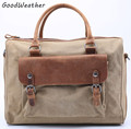 Vintage men canvas+leather handbag designer khaki laptop bags leisure shoulder bags large capacity zipper messenger bags for men