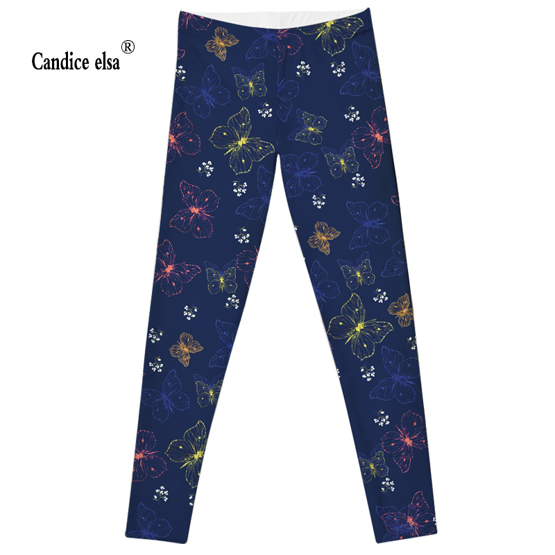 NEW  Brilliant Butterflies and beautiful flowers Leggings 2016 Summer Styles Sexy Fashion Women Fitness Pencil Trousers