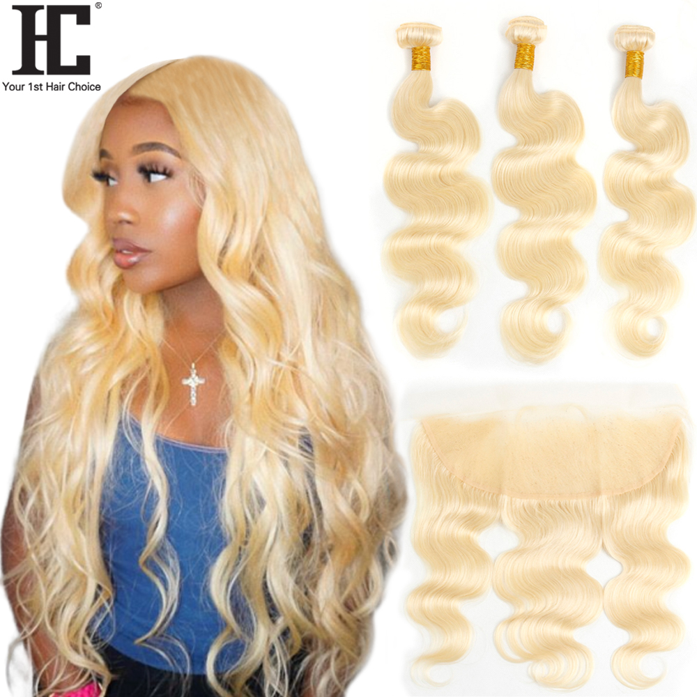HC Hair 613 Blonde Bundles With Frontal Peruvian Human Hair Weave Body Wave 3 Bundles With 13x4 Lace Frontal Closure Remy Hair image