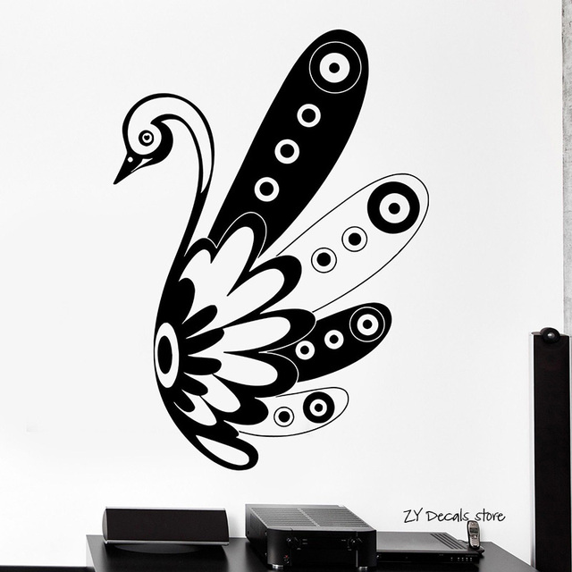 swan bird wall decals black and white ornament tribal mural vinyl