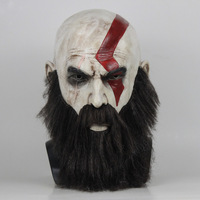 Game God Of War 4 Cosplay Mask with Beard Kratos Horror Costume Latex Masks Helmet Full Face Halloween Party Headwear Props