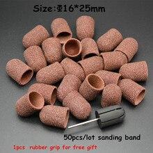 MAOHANG 50 ชิ้น/ล็อตเล็บ Sanding Bands หมวกและ 1 ชิ้นเล็บสำหรับเล็บเท้าไฟฟ้าเล็บเจาะเครื่องเล็บเครื่องมือ