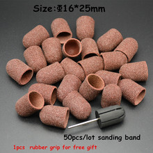 MAOHANG 50pcs/lot Nail Art Sanding Bands Caps and 1pcs nail grip for Manicure Pedicure Electric Nail Drill Machine Nail Tools
