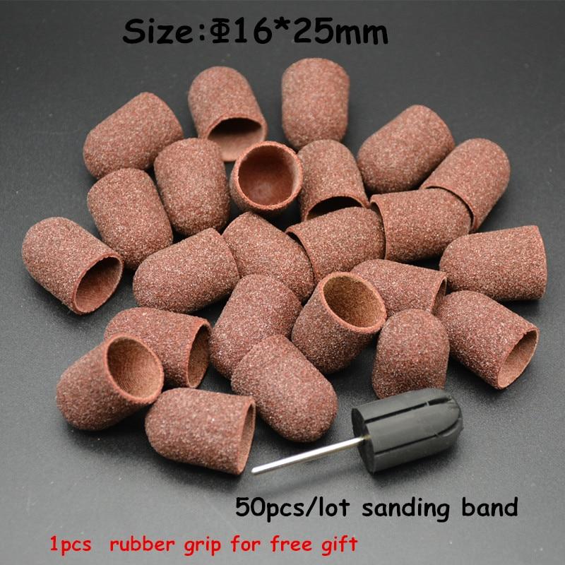 MAOHANG 50pcs/lot Nail Art Sanding Bands Caps and 1pcs nail grip for Manicure Pedicure Electric Nail Drill Machine Nail Tools