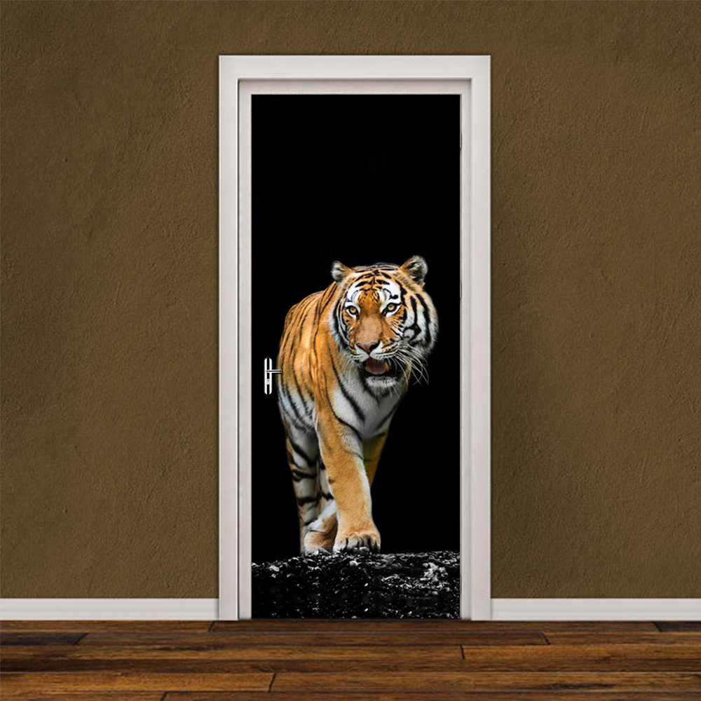 3D Decal 2 pcs/set Ferocious Tiger Wall Paper Mural Bedroom Poster PVC Waterproof Door Living Room Kids Bedroom Home Decor diy airplane wall stickers airliner vinyl decal home decor 3d airplane silhouette aircraft home decor for kids and boys bedroom