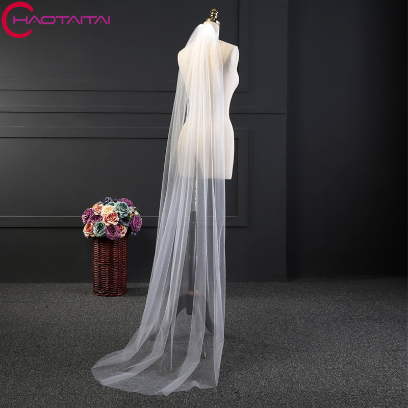 Bridal Veils 2018 Floor Length with Comb 2 Meter 1 Layers Elegant Soft Tulle White Ivory Wedding Accessories Vail Wedding Veil