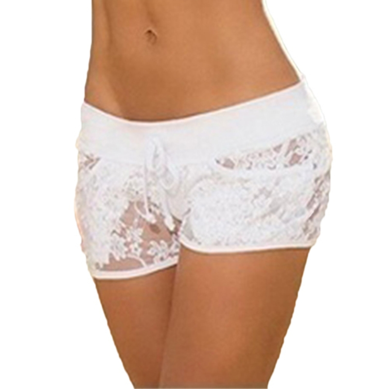 Sexy Women Lace See Through Solid Color Summer Low Rise Clubwear Pants