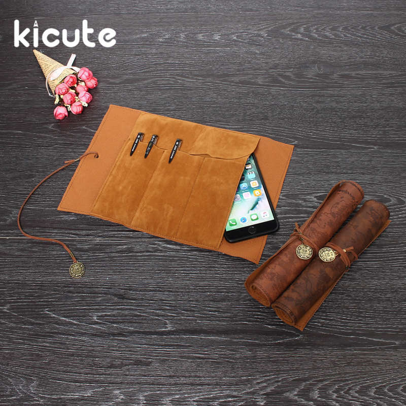 Kicute Vintage Pencil Cases Pirate Treasure Map Roll Up Pu Leather Pen Bags Kid Party Gift Favor Make Up Cosmetic Retro Bag