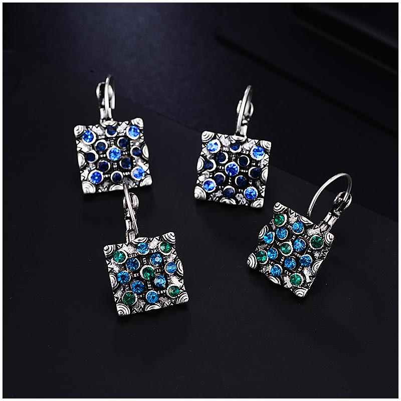 Vintage Drop Earring for Women Silver Color Blue Green Crystal Statement  Hanging Female Earrings Fashion Jewelry Brincos 2018