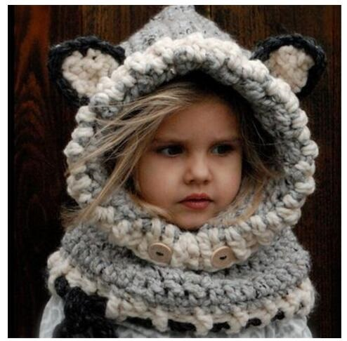 bc22fa8e849 Xirubaby Winter Warm Neck Wrap Fox Scarf Caps Cute Autumn Children Wool Knitted  Hats Baby Girls