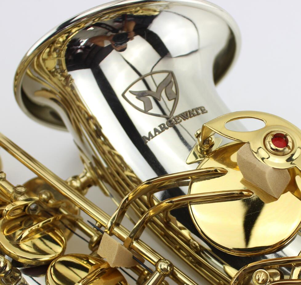 Lowest price high quality White copper gold key alto saxophone with mouthpiece,gloves,case.alto Eb sax цены онлайн