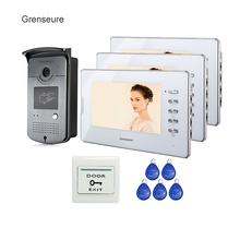 FREE SHIPPING 7″ Home Color Video Door phone Doorbell Intercom System Waterproof RFID Reader Camera + 3 White Monitor Wholesale