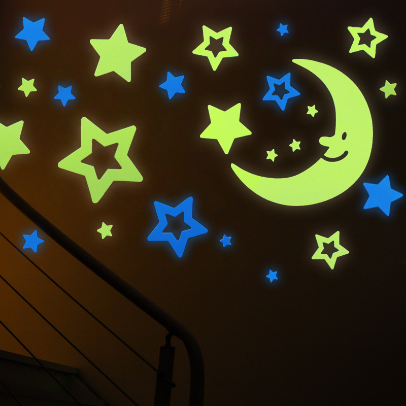 Kids roomStar moon night light 3D wallpaper affixed to the bedroom can be removed selfadhesive light decorative wall stickers