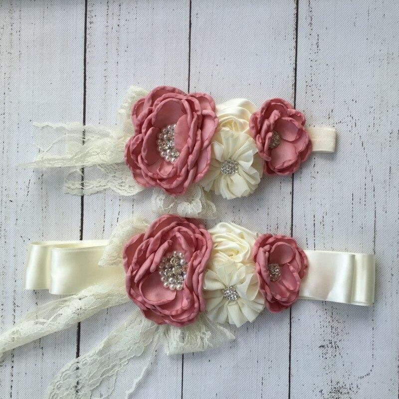 Chiffon Flower Sash Matching Baby Headband Belt Flower Girl Hair Accessories With Sparkling Rhinestone Kidoche