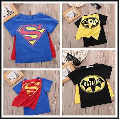 2016 Kids Boys T-shirt Tops With Cape Superman Batman Children Summer Short Sleeve T-shirt Tee Tops Baby Boys Clothes Custume(China)