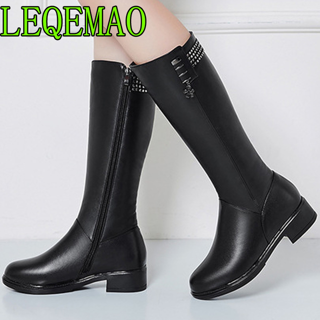 Women Winter Boots Genuine Leather Female boots high-heeled women long boots Short Plush lined warm snow boots Lady Fashion shoe