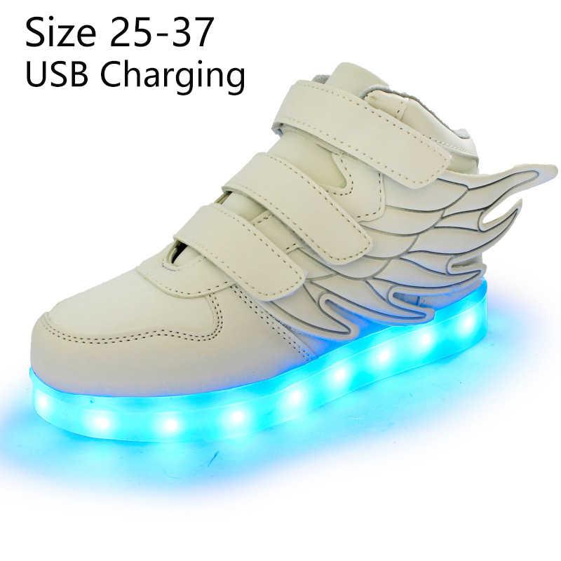 6800916c ... Криатив Детские светящиеся кроссовки с крыльями led тапочки обувь с  подсветкой для младенцев для детей мальчиков ...