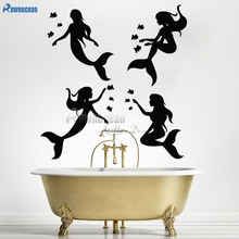 Mermaid Vinyl Wall Sticker Fairy Tale Fantasy Art Decal For Bathroom DIY Home Decor Shower Screen Stickers Ocean Sea Poster Y03