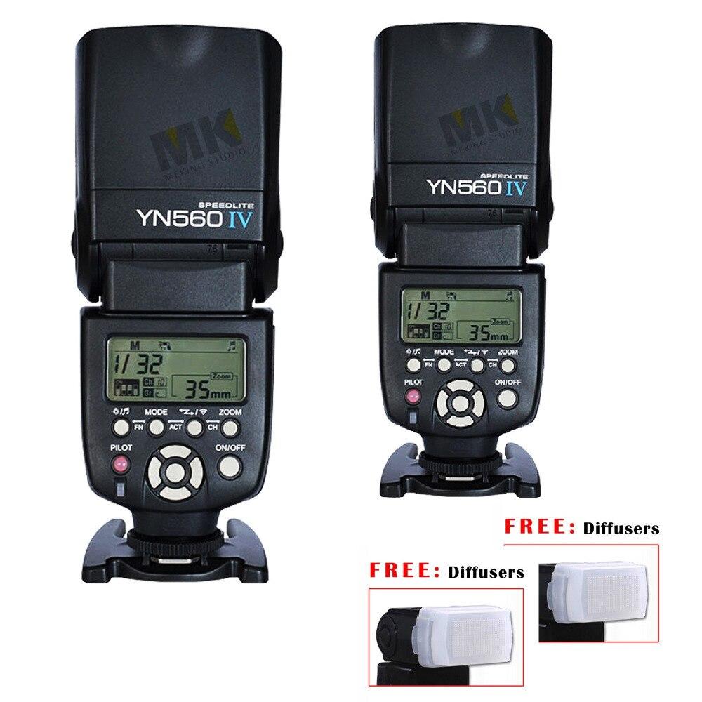 2 pièces Yongnuo YN560 IV Sans Fil Speedlite pour Canon Nikon Pentax Olympus DSLR Caméra Flash 600D K7 D7000 D3000 560TX RF605