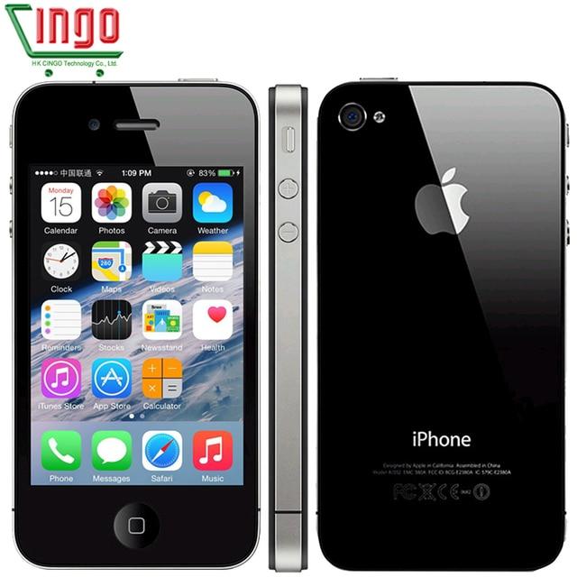 Iphone 4 Apple 4 фабрика/программное обеспечение разблокирована 16/32 ГБ сотовый телефон 3.5 дюймов сенсорный экран GPS WI-FI 5MP падение доставка