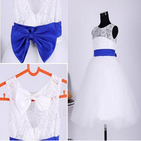 2015 Real Flower Girl Dresses with Sashes Bow Communion Ball Party Pageant Dress for Wedding Little Girls Kids/Children Dress