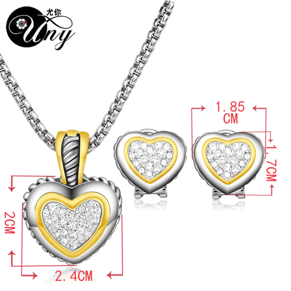 UNY kristal emas Perhiasan Set zircon jantung Perhiasan Set - Perhiasan fashion - Foto 6