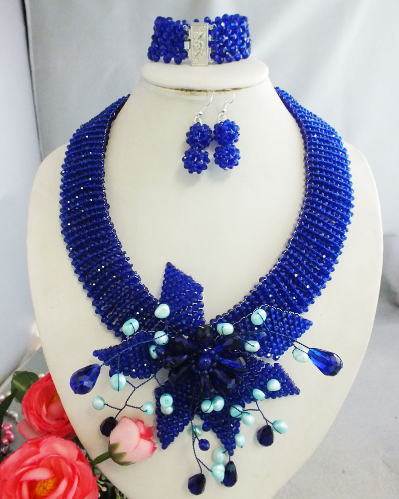 NO-128#  Graceful royal blue women jewelry set Nigerian party jewelry!