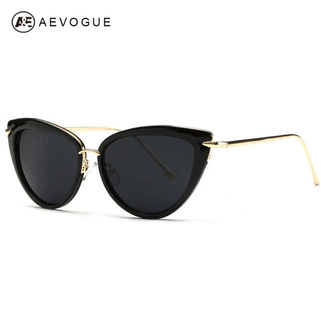 AEVOGUE Sunglasses Women Copper Temple Cat Eye Sun Glasses Original Brand Designer With Box UV400 AE0269