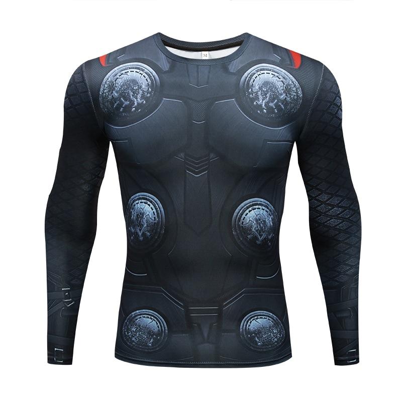 THOR 3D Stampato magliette Da Uomo Avengers 3 Camicia di Compressione 2018 Costume Cosplay Manica Lunga Tops Uomo Crossfit Fitness Abbigliamento