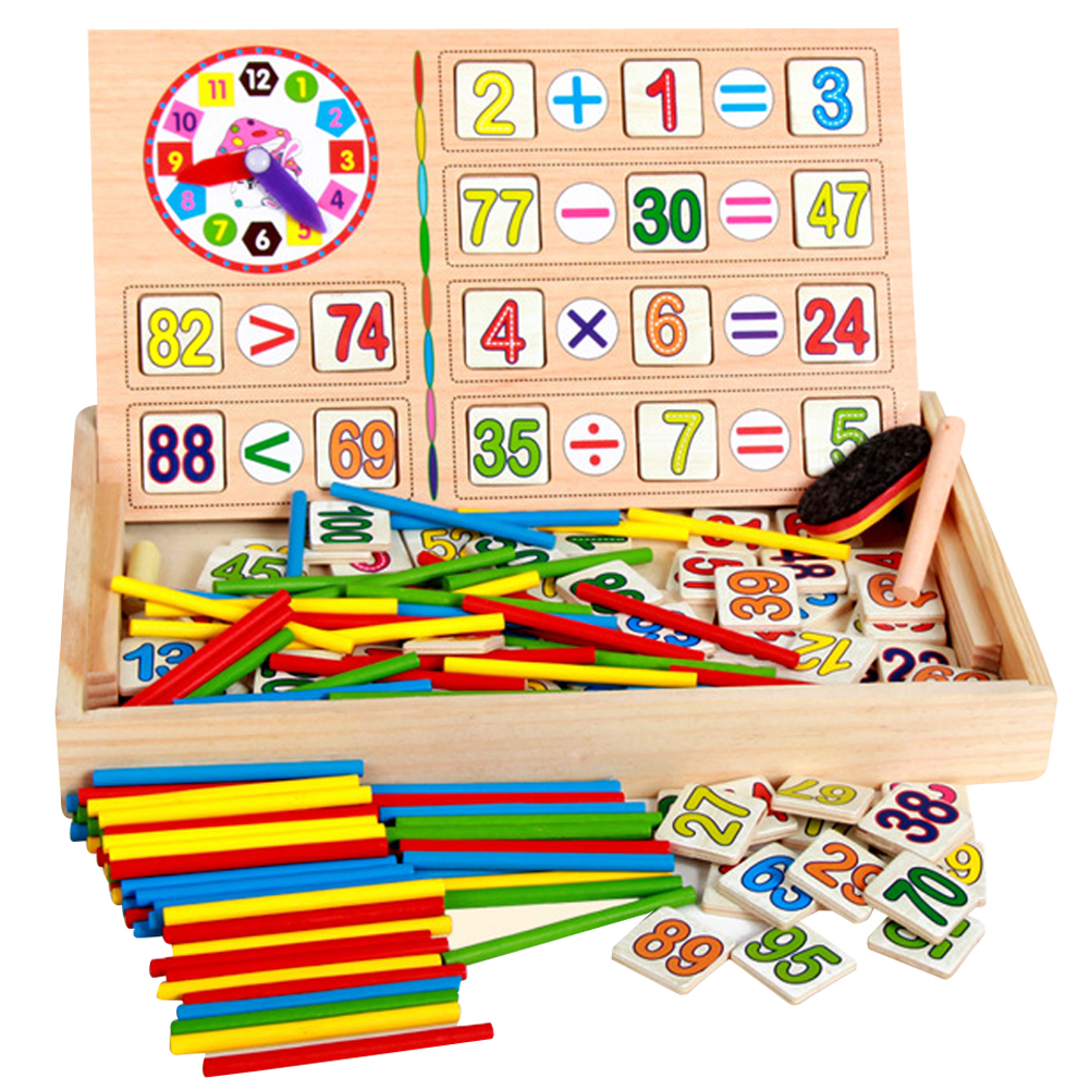Montessori Wooden Baby Math Arithmetic Toys with Box Educational Math Toy for Children Educational Learning Wood Puzzle Toys Set kids wooden math toys children math calculate game toys child learning educational toys baby montessori materials calculate toys