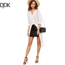 DIDK Женская Верхняя Одежда Мода 2016 Длинные Рубашки Для Женщин Осень Блузки Белый V Шеи Свернутый Вверх Рукава Асимметричный Длинная Блузка