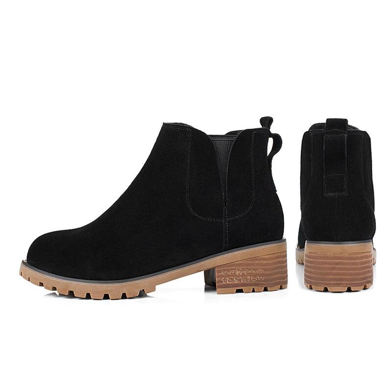 Talons En Daim Chaussures Rond Bande Fille Vache Femmes Épais Mode Wetkiss Printemps Noir Carré Nouveau Cheville Dames Bottes Élastique Bout De Zxwq0fC