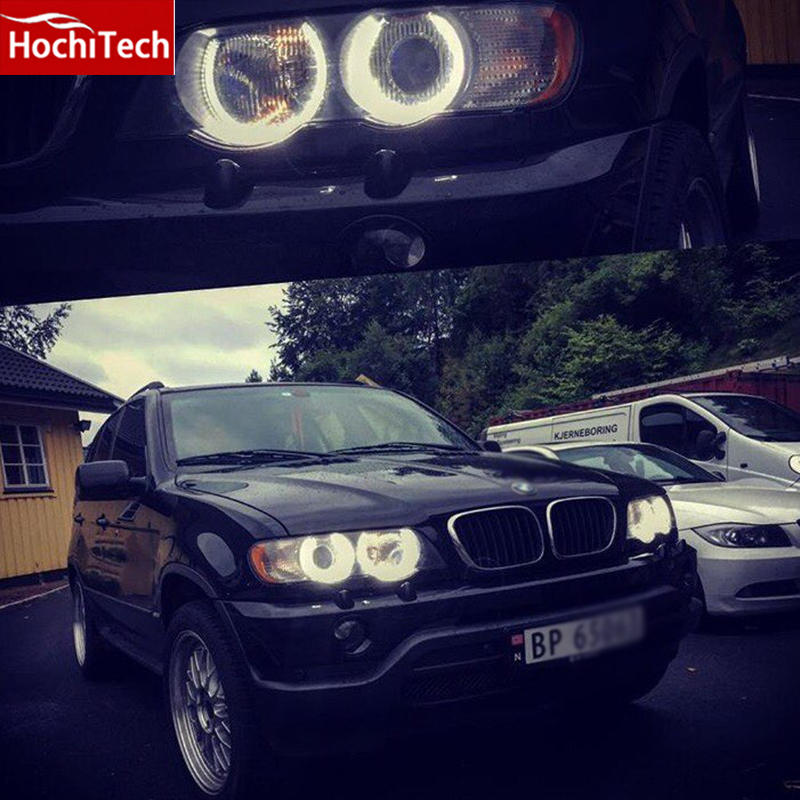 HochiTech high quality Day Light DRL CCFL Angel Demon Eyes Kit Warm White Halo Ring 127.5mm + 158mm For BMW E53/X5 1999-2004 hochitech white 6000k ccfl headlight halo angel demon eyes kit angel eyes light for vw volkswagen golf 5 mk5 2003 2009
