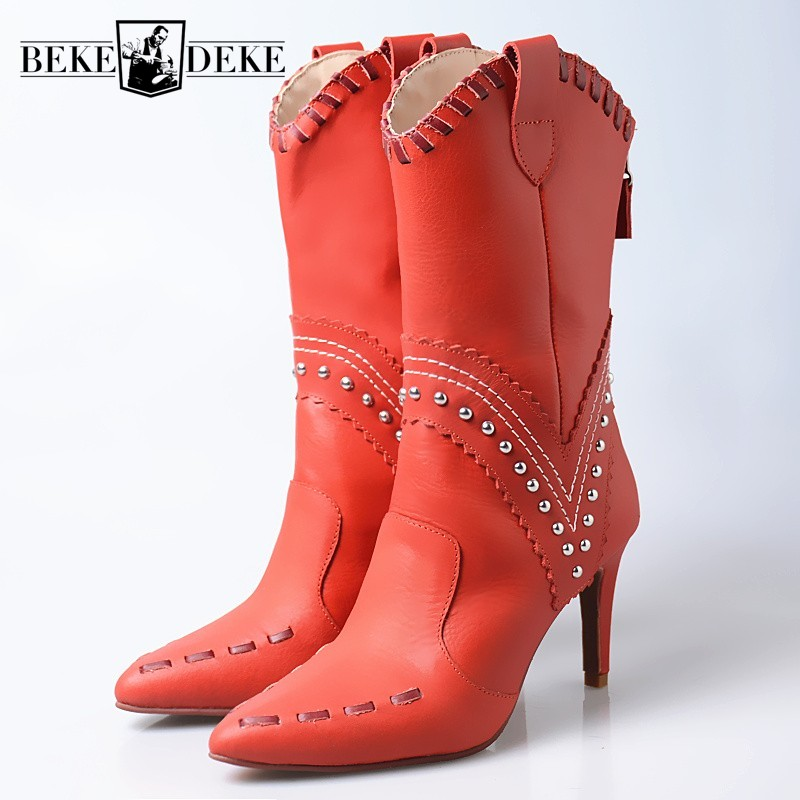 2019 Autumn Genuine Cow Leather Pointed Toe Rivet Mid-Calf Boots Women Red Runway Sapato Feminino Thin High Heels Half Boots2019 Autumn Genuine Cow Leather Pointed Toe Rivet Mid-Calf Boots Women Red Runway Sapato Feminino Thin High Heels Half Boots