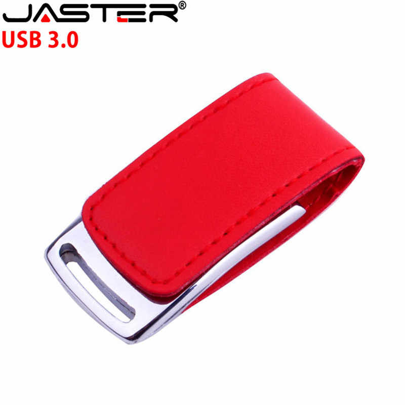 JASTER USB LOGOTIPO do cliente 3.0 do metal USB flash drive, couro & metal chaveiro moda creativo 4 GB/64 GB Memory stick Disco de U