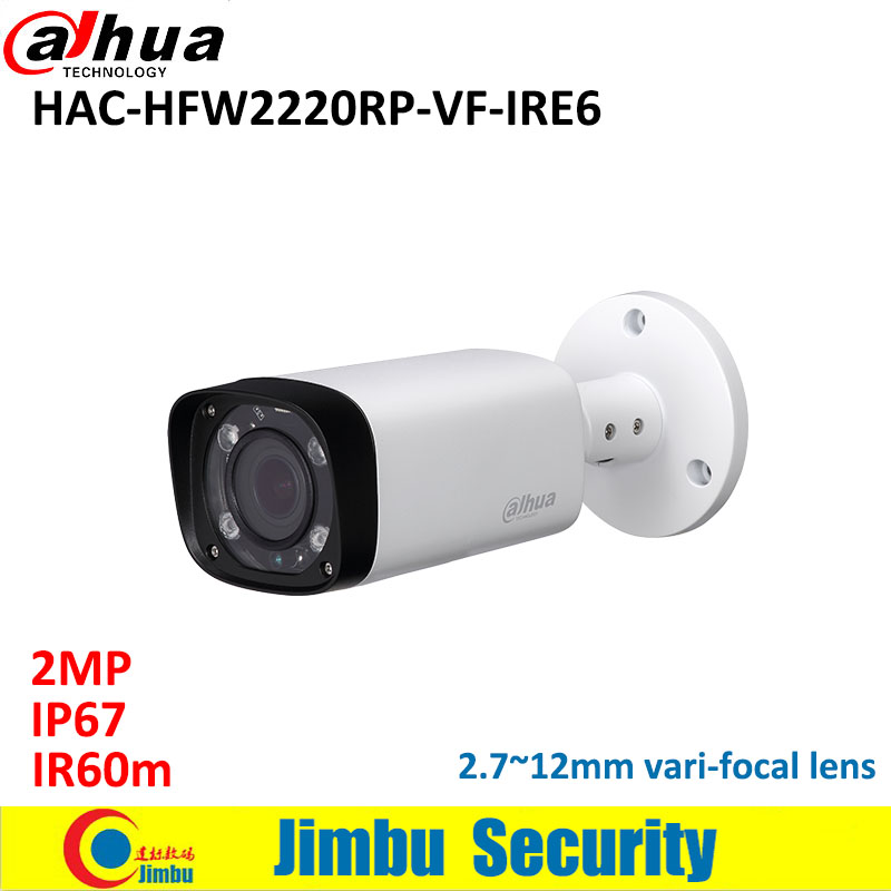 DAHUA 2.4MP 1080P HDCVI camera HAC-HFW2220R-VF-IRE6 Waterproof IP67 HDCVI Metal IR60m Bullet Camera with 2.7-12mm Lens dahua 4mp wdr hdcvi ir bullet cctv camera hac hfw2401r z ire6 ip67 varifocal lens 2 7 12mm motorized lens ir60m smart 120db 3dn