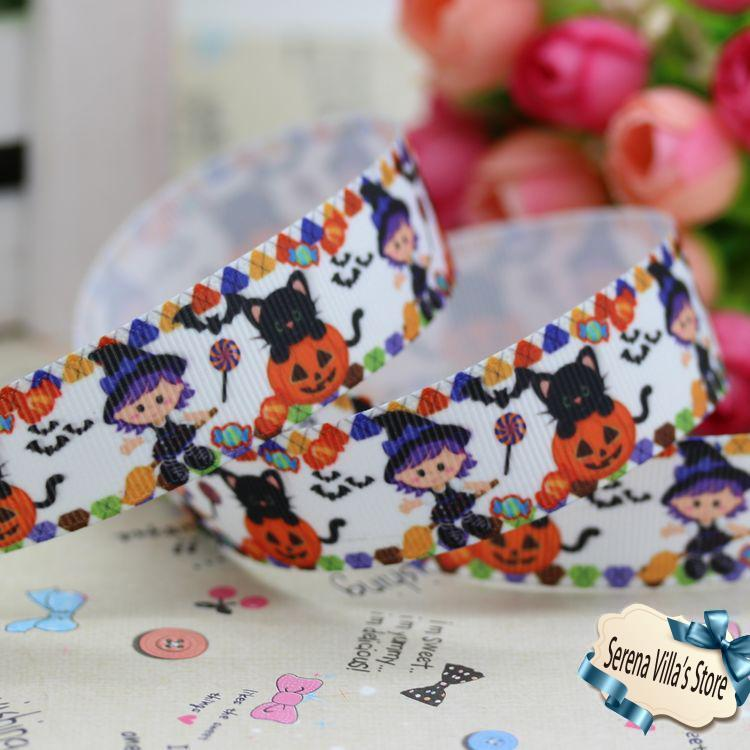 2014 new 7/8 halloween printed grosgrain ribbon hairbow party decoration 22mm printed selling birthday gift paking hair bows