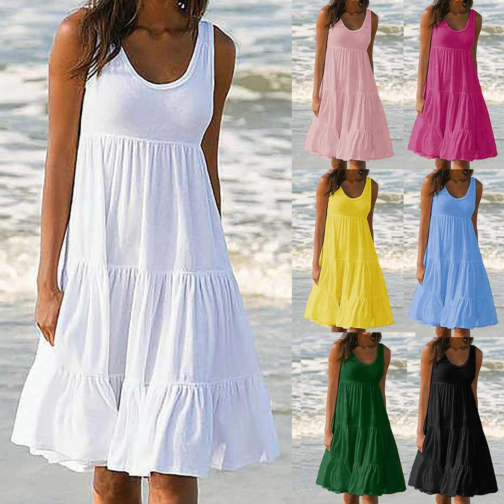 2019 カジュアルファッション毎日レディースホリデー夏ボヘミアンソリッドノースリーブビーチドレス vestidos デ verano に 50