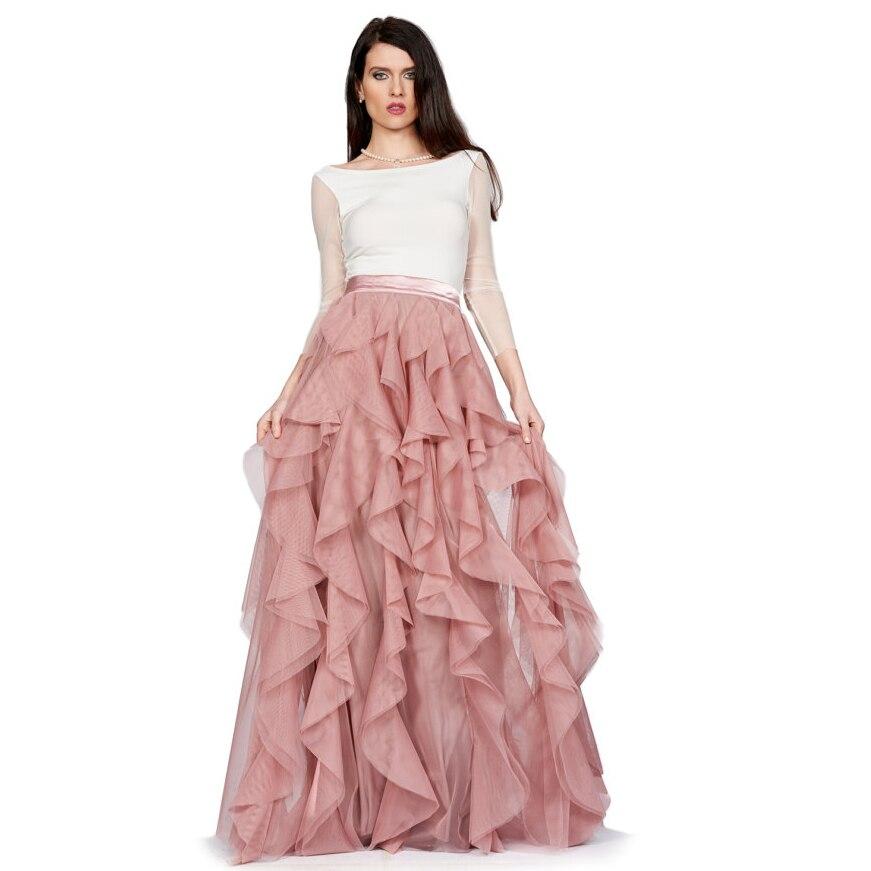 Tiered Las Mujeres Del Rosa Larga Acanalada Tutú Saia Ruffles Faldas Cremallera Para Lolita Vintage Largo Falda Tulle 2017 Rosado Mujer FqXfw