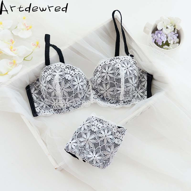 Women sexy Lace lingerie Push Up Half Cup   bra   and panty   set   Lounge   Bra   and Panties Embroidery   Bra     Set   underwear intimates suit