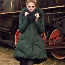 Новая зимняя Женская куртка на утином пуху трапециевидной формы, пальто-плащ, пальто с воротником из овечьей шерсти, толстые длинные пальто размера плюс, верхняя одежда D473
