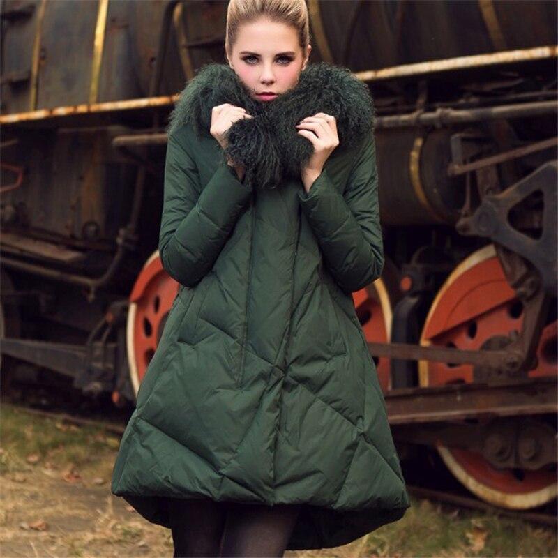 2018 new winter women A-Line duck   down   jacket cloak   coat   mongolia sheep fur collar thick long   coats   plus size outerwear D473