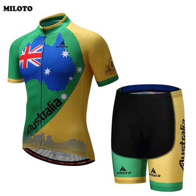 MILOTO Australia Men Cycling Jersey Short Sleeve Cycling Bike Clothing Tops  Breathable Gel Padded (Bib) Shorts Suit a422743f0