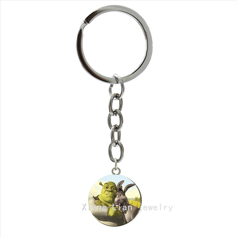 Interesting Nature Wildlife Animal Two Shrek Key Chain Glass Cabochon Cute Animal Ring Jewelry Children's Gift  Keychain  NS466