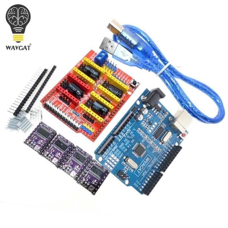 Плата расширения драйвера WAVGAT DRV8825 для 3D принтера, плата расширения для Arduino + UNO R3 с USB-кабелем, 4 шт.
