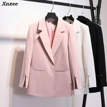 2018 Spring Autumn Suit jacket Women White Black Pink Korean Elegant Solid Loose Casual Blazer Womens Formal Coat Xnxee