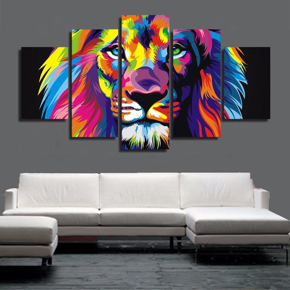 HD Gedruckt Tier Farbe lion 5 stück bild Malerei wandkunst raumdekor ...