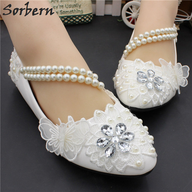 8d8c56f97346 Sorbern Side Beading Women Flat Heel Wedding Shoes Maternity Shoes Women  Flat White Shoes 2019 New