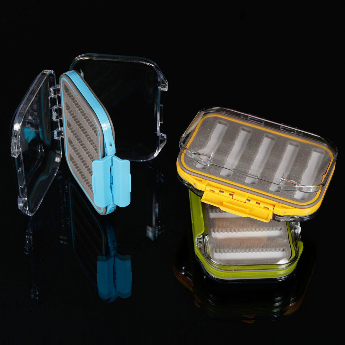 New Waterproof Double Side Opened Design Transparent Slit Foam Fishing Lure Tackle Case Hook Bait Fly Fishing Tackle Box
